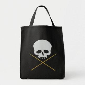 Bandera pirata del cráneo y del palillo bolsa lienzo