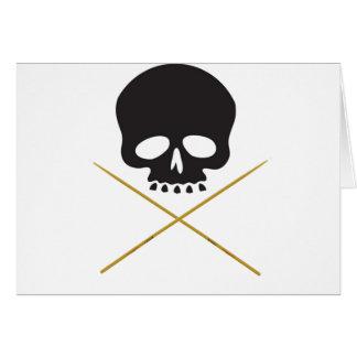 Bandera pirata del cráneo y del palillo tarjeta de felicitación