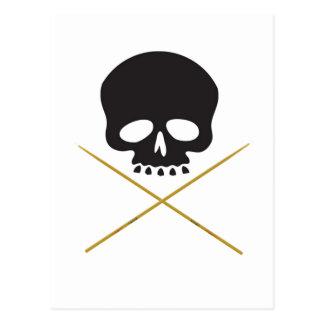 Bandera pirata del cráneo y del palillo tarjeta postal