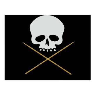 Bandera pirata del cráneo y del palillo tarjetas postales