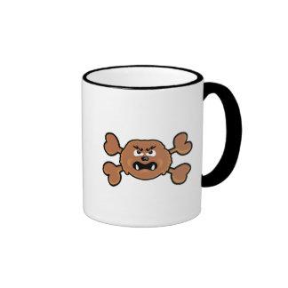 bandera pirata del marrón del cráneo del sasquatch tazas de café