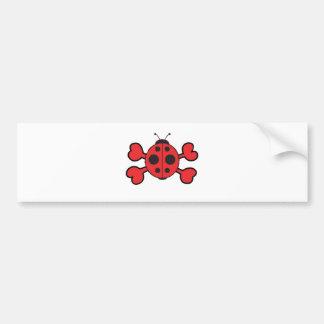 bandera pirata del rojo del cráneo de la mariquita pegatina para auto