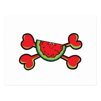 bandera pirata del rojo del cráneo de la sandía postales