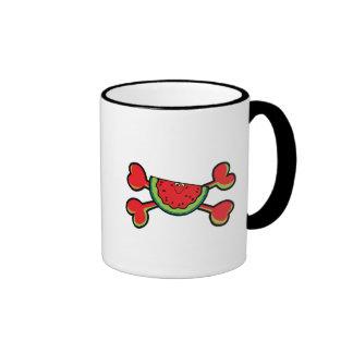 bandera pirata del rojo del cráneo de la sandía tazas de café