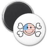 bandera pirata del smiley de la bandera americana imán de frigorífico
