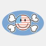 bandera pirata del smiley de la bandera americana colcomanias de óval