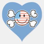 bandera pirata del smiley de la bandera americana pegatina de corazon