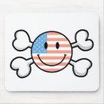 bandera pirata del smiley de la bandera americana alfombrilla de ratón