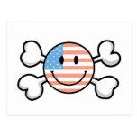 bandera pirata del smiley de la bandera americana postales