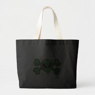 Bandera pirata extranjera del verde del cráneo bolsa