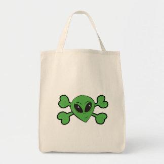 Bandera pirata extranjera del verde del cráneo bolsas