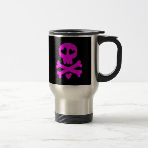 Bandera pirata Halloween del cráneo Taza De Viaje
