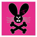 Bandera pirata malvada del conejito de Emo Posters