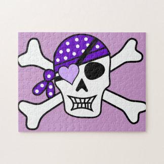 Bandera pirata púrpura del pirata rompecabeza con fotos