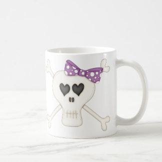 Bandera pirata púrpura linda del gótico tazas de café