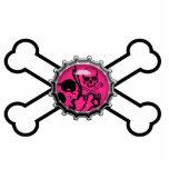 bandera pirata rosada del bottlecap del cráneo del escultura fotografica