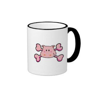 bandera pirata rosada del rosa del cráneo del hipo tazas de café
