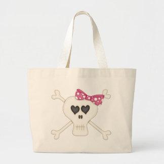 Bandera pirata rosada linda del gótico bolsas lienzo