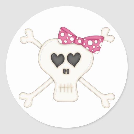 Bandera pirata rosada linda del gótico etiquetas redondas