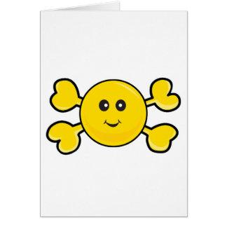 bandera pirata sonriente del amarillo del cráneo d tarjeton