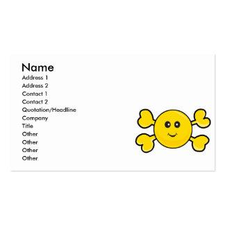 bandera pirata sonriente del amarillo del cráneo d plantilla de tarjeta personal