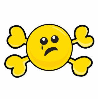 bandera pirata sonriente gritadora del amarillo de escultura fotográfica