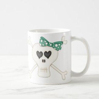 Bandera pirata verde linda del gótico taza de café