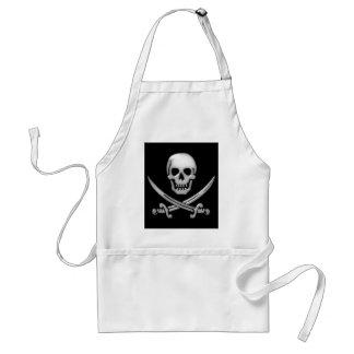 Bandera pirata vidriosa del cráneo y de la espada delantal