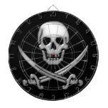 Bandera pirata vidriosa del cráneo y de la espada tabla dardos