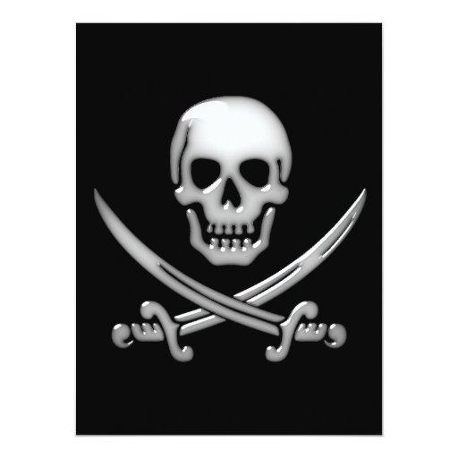 Bandera pirata vidriosa del cráneo y de la espada invitación 16,5 x 22,2 cm