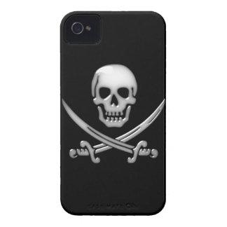 Bandera pirata vidriosa del cráneo y de la espada iPhone 4 protector