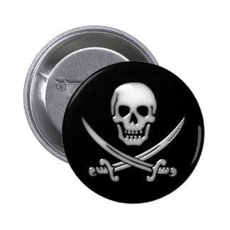 Bandera pirata vidriosa del cráneo y de la espada pin redondo de 2 pulgadas