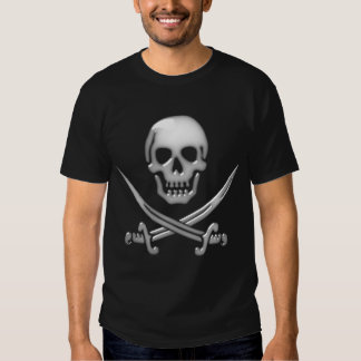 Bandera pirata vidriosa del cráneo y de la espada polera