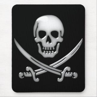 Bandera pirata vidriosa del cráneo y de la espada alfombrillas de ratón
