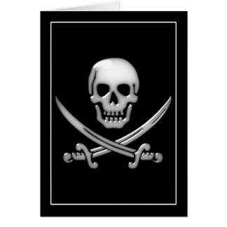 Bandera pirata vidriosa del cráneo y de la espada felicitacion