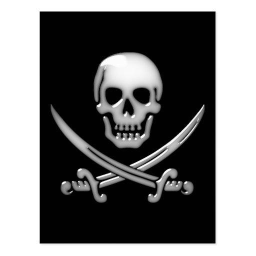 Bandera pirata vidriosa del cráneo y de la espada tarjetas postales
