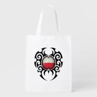 Bandera polaca agrietada tribal negra bolsa de la compra