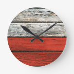 Bandera polaca con efecto de madera áspero del gra reloj