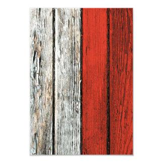 """Bandera polaca con efecto de madera áspero del invitación 3.5"""" x 5"""""""