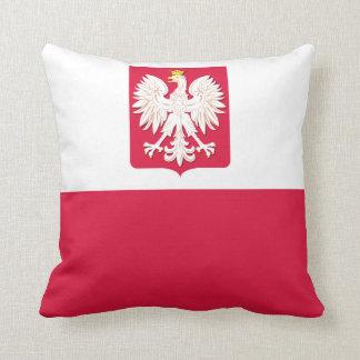 Bandera polaca con la almohada de MoJo del escudo Cojín Decorativo
