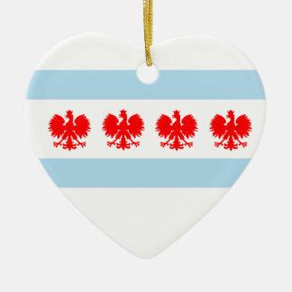 Bandera polaca de Chicago Adorno Navideño De Cerámica En Forma De Corazón