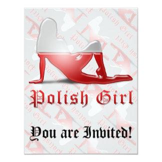 """Bandera polaca de la silueta del chica invitación 4.25"""" x 5.5"""""""