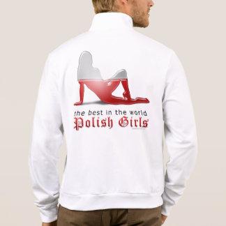 Bandera polaca de la silueta del chica chaqueta imprimida
