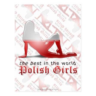 Bandera polaca de la silueta del chica tarjetas postales