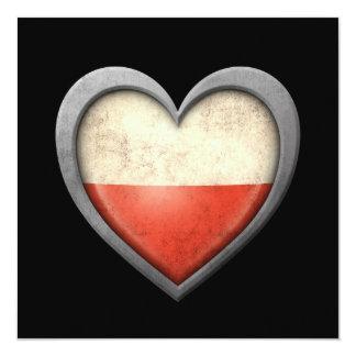 """Bandera polaca del corazón con efecto del metal invitación 5.25"""" x 5.25"""""""