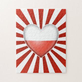 Bandera polaca del corazón con la explosión de la  puzzle