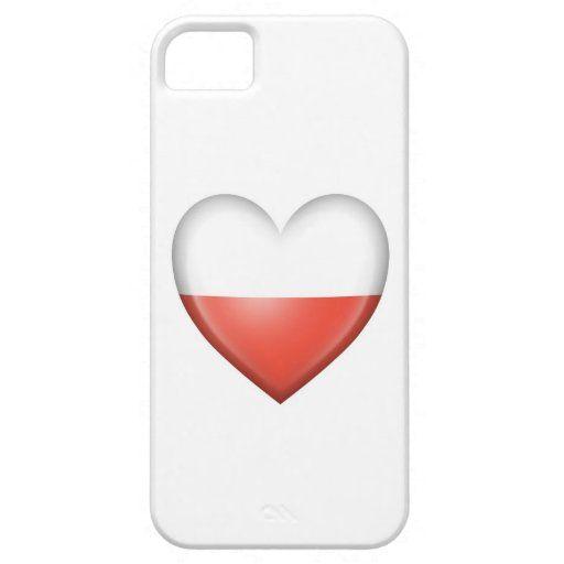 Bandera polaca del corazón en blanco iPhone 5 Case-Mate cárcasa
