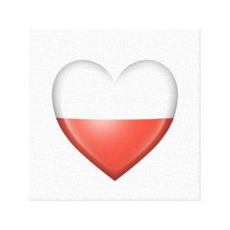 Bandera polaca del corazón en blanco lona envuelta para galerias