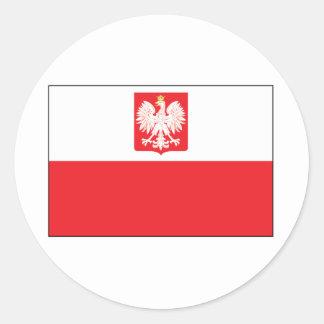Bandera polaca del halcón pegatina redonda