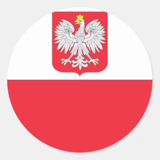 Bandera polaca pegatina redonda
